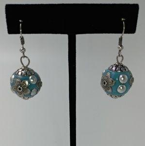 Tesori Jewelry - NWT Silvertone and Turquoise Ball Drop Earrings